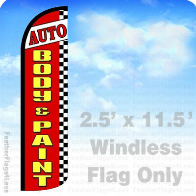Auto Body Paint - Windless Swooper Flag Feather Banner Sign 2.5x11.5 Rz