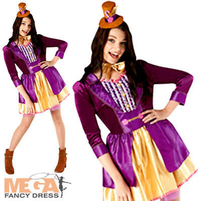 Willy Wonka Ladies Fancy Dress Chocolate Factory Book Week Womens Adults Costume (Willy Wonka Costume Women)