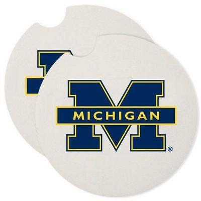 - Set of 2: University of Michigan Wolverines Absorbent Stone Car Coaster Coasters