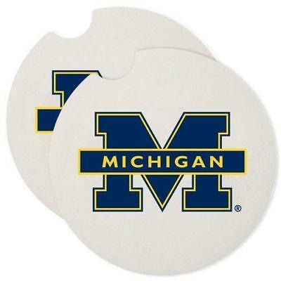Michigan Wolverines Set - Set of 2: University of Michigan Wolverines Absorbent Stone Car Coaster Coasters