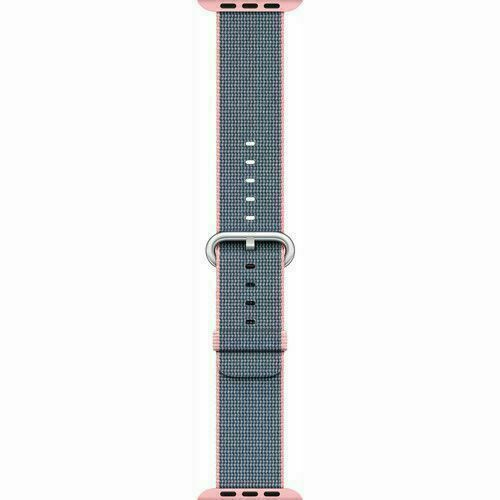 Authentic Apple 38mm Watch Woven Nylon Band, Light Pink/Midnight Blue, MNK62AM/A