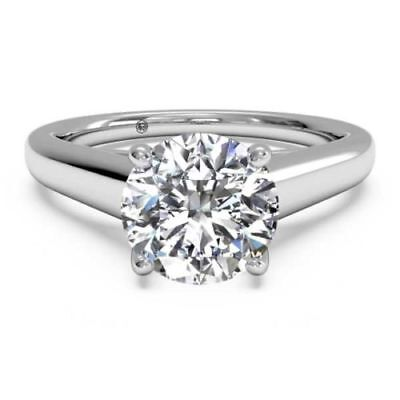 1.5 CT SI1/F ROUND CUT DIAMOND SOLITAIRE ENGAGEMENT RING 14K WHITE GOLD ENHANCED