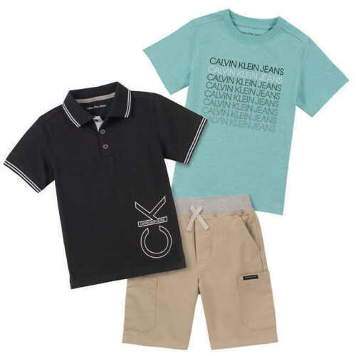 NEW Calvin Klein Jeans Boy's 3 Piece Set Black Polo Short Te