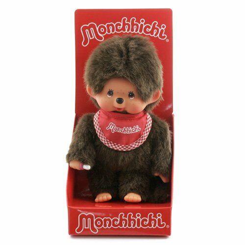 "MONCHHICHI BOY Sekiguchi 7.75"" Red Bib Monchichi Plush Collectible Monkey Doll"