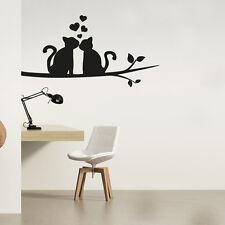 Wandtattoo Katze Blätter Baum Ast Aufkleber Wand Tattoo #2136