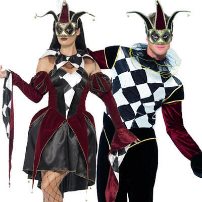 Gothic Venetian Harlequin Adult Fancy Dress Jester Mens Ladies Halloween Costume - Mens Harlequin Costume