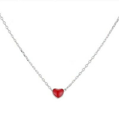 Oil-spot Glazed Red Heart Necklace On Silver Chain - Fashion Jewelry