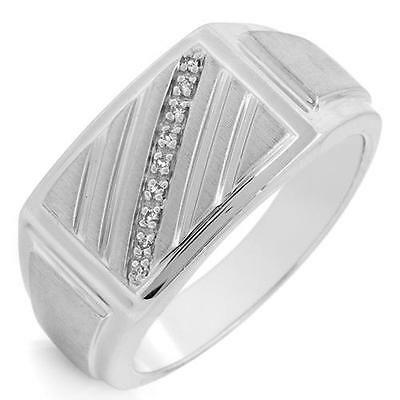 Gentlemens Ring W/Genuine Clean Diamond in 925 Sterling Silver Size 10