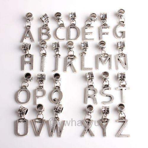Silver Alphabet Beads: Alphabet Charm Beads