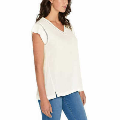 Buffalo Ladies' lightweight V-Neck Top Shirt Cap Sleeves Rose White M (Rose Top Cap)