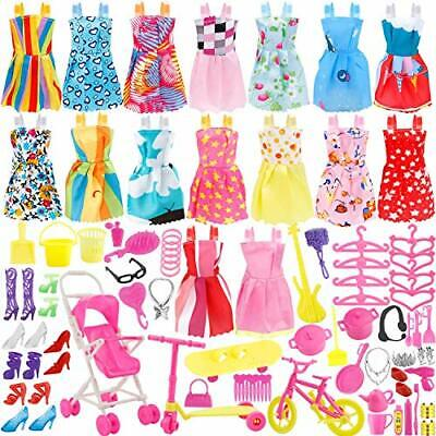 114 Pcs Accessories Barbie Doll Clothes Gown Outfit Accessories Girl Gift Huge