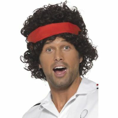 Mens Tennis Sport Player Wig Headband John McEnroe Lot Fancy Dress Costume - 80's Tennis Kostüm
