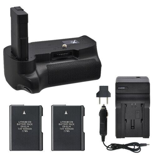 Battery Grip for Nikon D3100 D3200 D3300 + 2 EN-EL14 Batteries + Charger