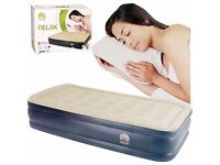 brand new INFLATABLE HIGH RAISED SINGLE AIR BED MATTRESS AIRBED W BUILT IN ELECTRIC PUMP