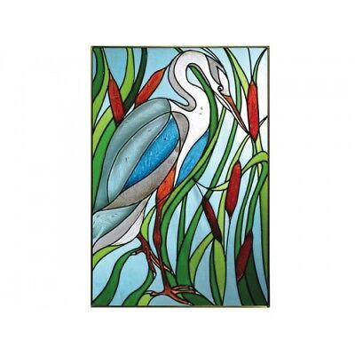 - Blue Heron Bird Art Glass Window Panel Suncatcher 14