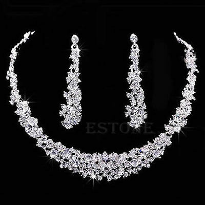 New! Prom Wedding Bridal Party Crystal Rhinestone Earring Necklace Jewelry Sets.