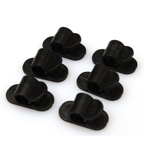 6pcs Black Small Plastic Cable Wire Cord Clip Fixer Fastener ...