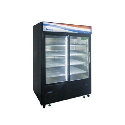 New Atosa Mcf8727gr Black Sliding Glass Two Door Refrigerator Merchandiser