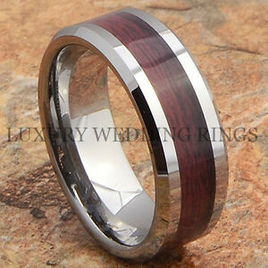 Tungsten-Mens-Ring-Wood-Wedding-Band-Bridal-Jewelry-Titanium-Color-Size-6-13