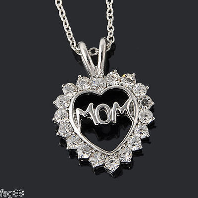 New Mom Charm Silver Crystal Heart Pendant Necklace Rhinestones Mothers Day