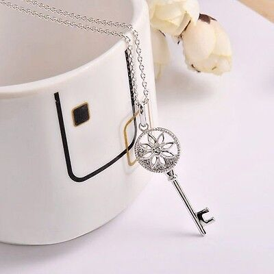 Floral Key Pendant Sparkling 18in White Gold Plated Necklace Fashion Jewelry  - Key Pendant 18in Necklace