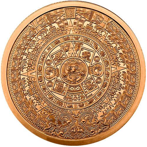 Aztec Calendar Copper Round Big 5 oz of Beautiful .999 Cuauhtemoc