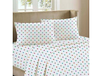 Soft Thermal 100% Cotton Flannelette Duvet Cover Polka Dot