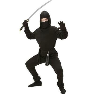 Kinder Ninja Kostüm japanischer Kämpfer schwarz Gr. 158 gute Qualität - Japanische Kostüm Kinder
