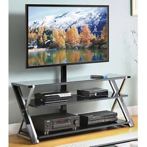 3-In-1 Black TV Console stand with mount 60 inch flat modern panel 50 Flat Panel