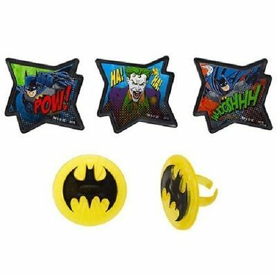 BATMAN JOCKER POW CUPCAKE RINGS TOPPERS (24 Pack) PARTY FAVORS NEW