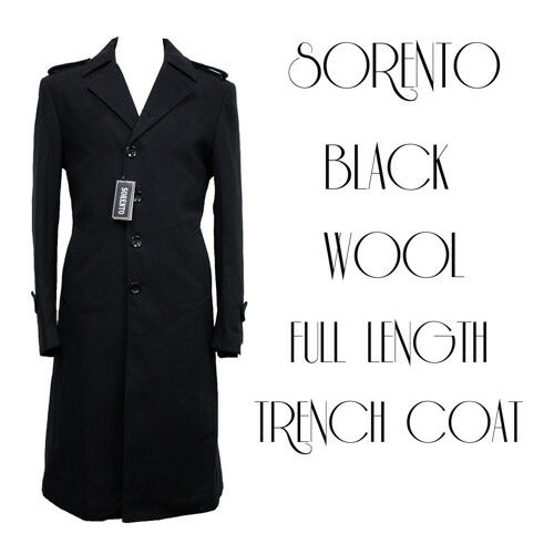Details about SORENTO Mens Boys Black Wool Full Length Trench Coat Dapper  GQ Fashion Business