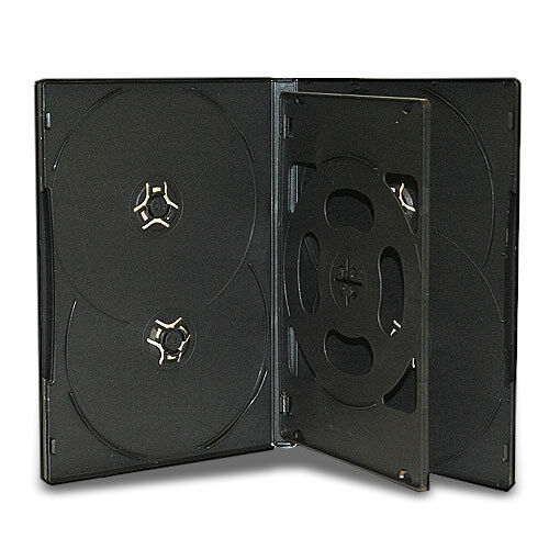 10 Black 14mm Multi Six Disc (Hold 6 Discs) CD DVD Storage Box Case with Tray