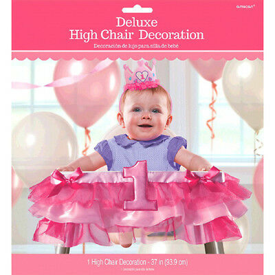 1st BIRTHDAY Girl DELUXE HIGH CHAIR BANNER ~ First Party Supplies Decoration](First Birthday Supplies Girl)