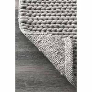 New 5'x8' Hand-Woven Wool Light Grey Rug