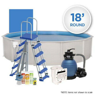 - Oceania 18' Round Above Ground Hardwall Swimming Pool Pack w/ Chemical Start Kit