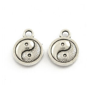 Packet 30 x Antique Silver Tibetan 13mm Yin Yang Charm/Pendant ZX16125