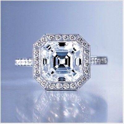 2.30 Ct Asscher Cut Diamond Bezel Set Micro Pave Engagement Ring G, VVS1 GIA 14k