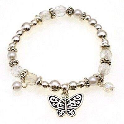 Childrens Silver and Clear Beaded Stretch Bracelet With Butterfly Charm
