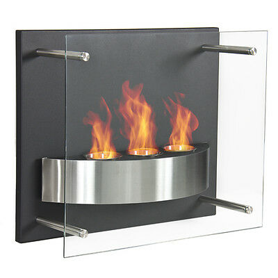 Fireplace Wall Mount Gel Fuel Burner 3 Reservoir Glass