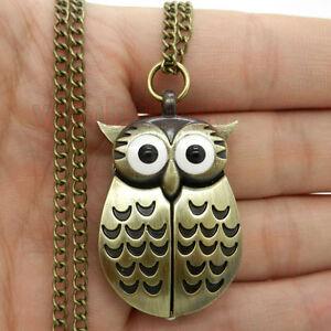 Pocket-Watch-Necklace-Chain-Mens-Womens-Gift-Owl-Necklace-Pendant-Quartz-CA-P27