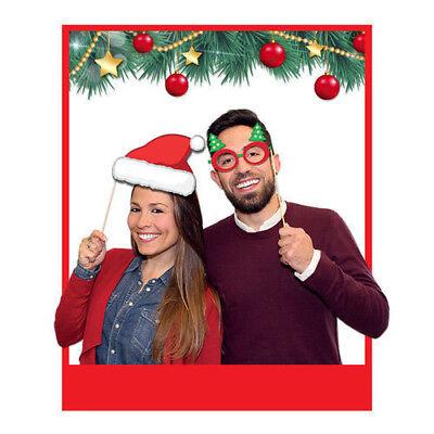 photo booth natale 8 pz 20 cm accessori decorazioni foto selfie natalizi