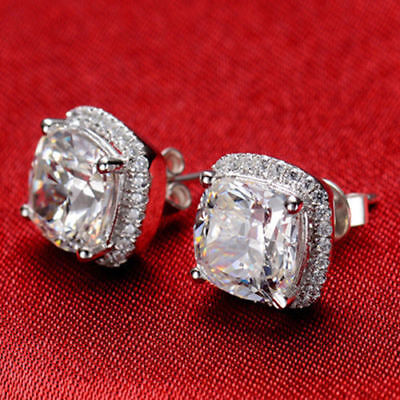 6mm Solitaire Halo Cushion Cut Moissanite Stud Earrings 14k White Gold GP Womens