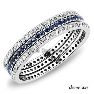 Women's Round Cut CZ 3 Piece Eternity Anniversary Wedding Ring Band Set Sz 5-10 ()