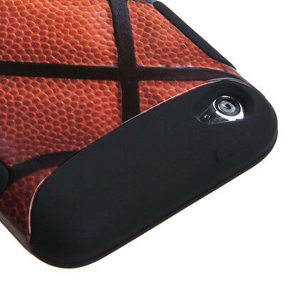 iPod Touch 4th Gen - HARD & SOFT RUBBER DUAL LAYER HYBRID CASE BLACK BASKETBALL Ipod Touch 4 Hybrid