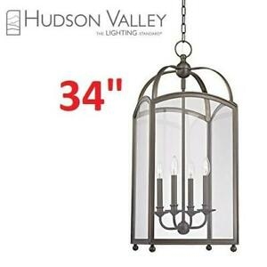 NEW* HUDSON VALLEY CHANDELIER 8414-DB 255432584 4 LIGHT DISTRESSED BRONZE CLEAR GLASS LIGHTING