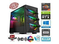 NEW WITH WARRANTY - AMD RYZEN 7 2700X 4.3GHZ 8CORE 32GB RAM 1TB SSD NVIDIA GEFORCE RTX3070 GAMING PC