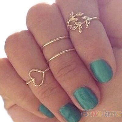 4X WOMEN GOLD TONE RINGS SET CRYSTAL LEAF KNUCKLE FASHION BAND MIDI RING BE2K