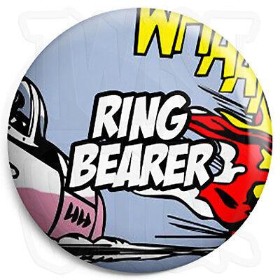 Ring Bearer - 25mm Comic Wedding Button Badge with Fridge Magnet Option](Ring Bearer Badge)