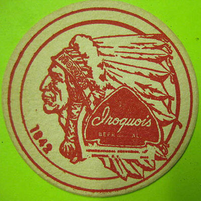 IROQUOIS BEER ALE 3 1/2 inch COASTER, Mat with an INDIAN Buffalo NEW YORK 1960's