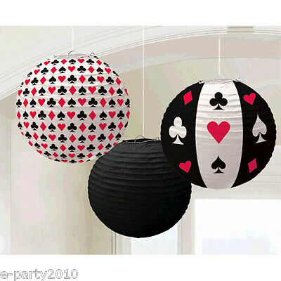 CASINO NIGHT PAPER LANTERNS (3) ~ Birthday Party Supplies Decorations Poker - Casino Night Decor